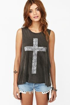 Faded Cross Muscle Tee...hmmm inspiration for a project!