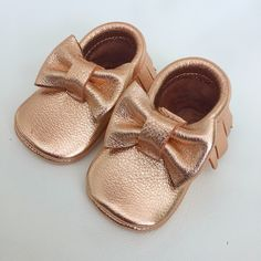 Rose Gold bow moccs baby toddler moccasins clothes shoes baby shower ideas baby food maternity baby girl announcement milestones breastfeeding 1st birthday first birthday