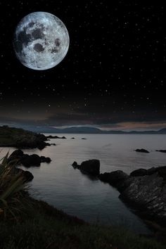 Full Moonlight over Rocks and Sea ~ Kerry, Ireland