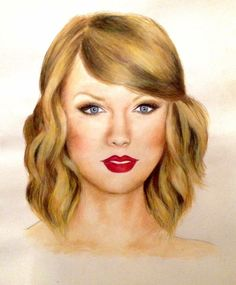 Taylor Swift, painted by me with watercolours and drawn on top with watercolour pencils :)