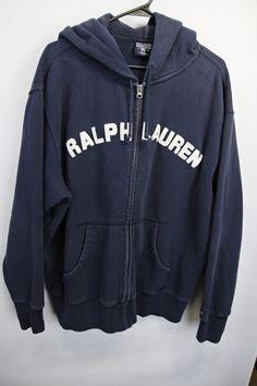 POLO RALPH LAUREN HOODIE COTTON SWEATSHIRT SZ LRG NAVY BLUE W/ WHITE LARGE LOGO #RalphLauren #Hoodie