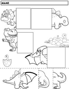 Color, cut, and match the dinosaur halves. Package includes five no prep worksheets. Great for working on those visual discrimination skills. Dinosaurs Preschool, Dinosaur Activities, Dinosaur Crafts, Dinosaur Party, Preschool Activities, Hand Crafts For Kids, Different Wedding Ideas, Cutting Activities, Dinosaur Coloring