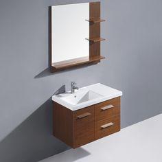 "Vigo 31"" Moderna Trio Single Bathroom Vanity with Mirror"