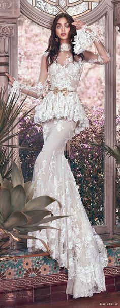galia lahav spring 2018 bridal long sleeves sheer high neck sweetheart neckline full embellishment peplum victorian vintage sheath wedding dress keyhole back sweep train (tesla) mv
