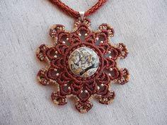 Magic Talisman mandala macrame pendant whit fosil by LunaticHands