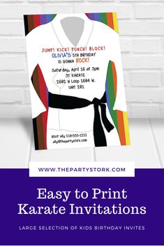 Make your Karate Birthday Party Rock with these printable Karate Invitations by The Party Stork. Print and save. Karate Birthday, Kids Birthday Party Invitations, Party Rock, Having Patience, Stork, Birthday Celebration, Punch, Printable, Make It Yourself