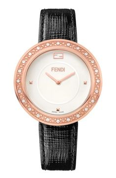 Free shipping and returns on 'Fendi My Way' Genuine Fox Fur & Diamond Bezel Leather Strap Watch, 36mm at Nordstrom.com. This slender leather-strapped watch uses fluffy flourishes of fox fur to update time-honored Swiss craftsmanship with some unpredictable edge. Twenty-four bright diamonds further glamorize this memorable timepiece.
