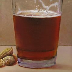 """Glass of Beer and Peanuts"" - Original Fine Art for Sale - © Oriana Kacicek"