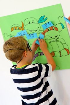 'Pin the mask on Leo' party game for Teenage Mutant Ninja Turtle party