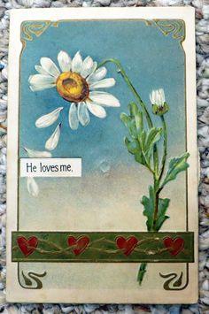 Valentine Early PFB Mechanical Daisy He Loves Me Loves Me Not | eBay