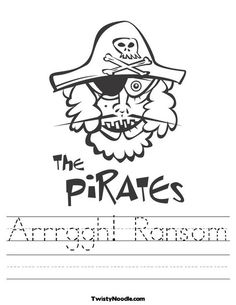 The Pirates Worksheet from TwistyNoodle.com - genius! Customizable print practice for kindergartners =)