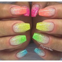 Colorful glitter Ombré Nails
