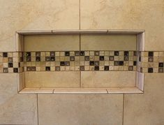 How to design and build a shower niche and use accent tile by Ramcom Kitchen and Bath Bathroom Remodeling Contractors, Niche Design, Bath Shelf, Shower Niche, Master Bath Remodel, Shower Remodel, Kitchen And Bath, Building Design, Kitchen Remodel