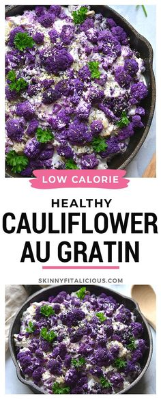 Healthy Cauliflower Au Gratin is a low calorie and gluten free recipe. Super easy and delicious! #healthy #cauliflower #augratin #lowcalorie #glutenfree #highprotein #thanksgiving #holiday #sidedish Healthy Low Calorie Meals, Low Calorie Recipes, Healthy Cooking, Healthy Side Dishes, Side Dishes Easy, Side Dish Recipes, Healthy Thanksgiving Recipes, Healthy Dinner Recipes, Thanksgiving Holiday