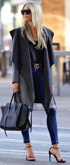 drape coat in grey and black