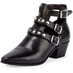 Saint Laurent Three-Strap Leather Ankle Boot (33.185 UYU) ❤ liked on Polyvore featuring shoes, boots, ankle booties, zapatos, noir, black ankle booties, black leather booties, short black boots, pointed toe booties and short boots