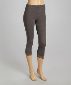 Look what I found on #zulily! Charcoal Lace Capri Leggings - Women #zulilyfinds
