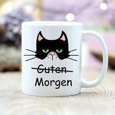 Becher & Tassen - Geschenk Tasse Kaffeetasse Guten Morgen Katze - ein Designerstück von wandtattoo-loft bei DaWanda