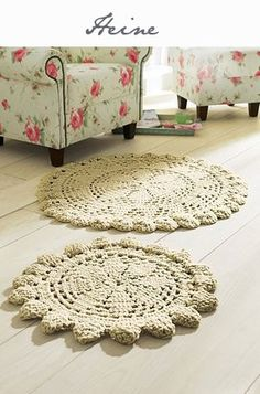 "OMG... These are ""Doily Rugs""... Rugs crocheted in the patterns of grandma's dainty tabletop doilies.  WOW!  Not practical but lovely!"