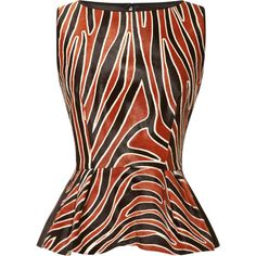 Mother of Pearl Leona Calf Hair Peplum Top with Contrast Back This printed pony hair top from Mother of Pearl is sleeveless and features a pleated peplum hem and solid silk satin back panel. Back zip. 100% calfskin with 100% silk. Fully lined black white brown chestnut