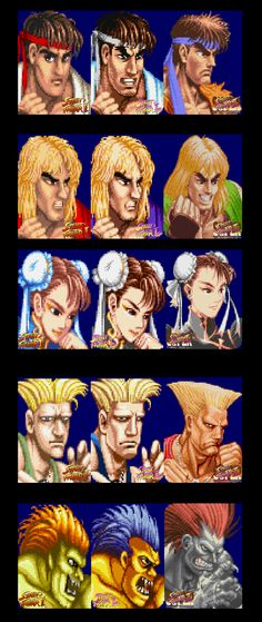 Street Fighter 2 character portrait Evolutions From WW to Turbo to Super Street Fighter Iii, Super Street Fighter 2, Cosplay Games, Manga, Nintendo, Game Character Design, King Of Fighters, Comic Movies, Video Game Characters