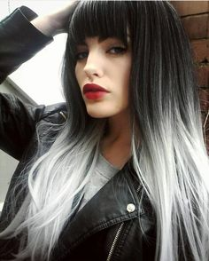 Long Straight Wig with Bangs Sythetic Grey Temperature Fiber – Sunshine's Boutique & Gifts White Ombre Hair, Ombre Hair Color, Ombre Brown, Black To Silver Ombre, Gray Hair, Silver White Hair, Silver Hair Colors, Grey Hair With Bangs, Black Hair