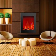 The Amantii ZECL-2939 electric fireplace is a stylish vertical option. It gives you the benefit of fitting easily into a small room adding warmth to any space in your home. This unit also comes with three colors of decorative media and an LED ember log set. It is ideal for new construction or renovations.
