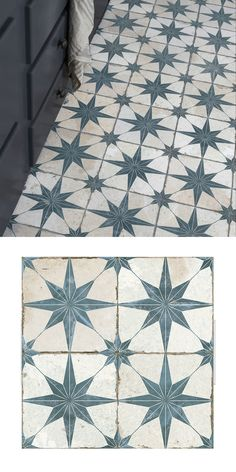 Create a statement floor in your bathroom, kitchen, hallway or lounge with these striking Scintilla Sapphire Tiles. They have a vintage monochrome design, with aged-effect blue and white star shaped p Ceramic Floor Tiles, Bathroom Floor Tiles, Kitchen Tiles, Kitchen Flooring, Porch Flooring, Vinyl Flooring, Floor Patterns, Star Patterns, Kitchen Floor Tile Patterns