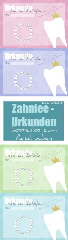 Zahnfee Urkunde kostenlos zum Ausdrucken, Zahnfeezertifikat, Printable for kids