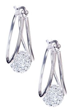 Sterling Silver Captured Crystal Ball Earrings