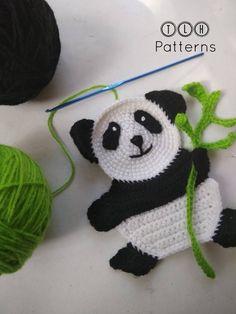 Crochet panda applique pattern, panda application, crochet animal applique pattern, crochet p. Crochet Panda, Marque-pages Au Crochet, Crochet Mignon, Crochet Unicorn, Crochet Amigurumi, Crochet Bunny, Crochet Basics, Cute Crochet, Crochet Animals