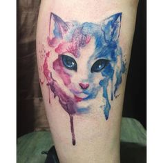 Chronic Ink Tattoo - Toronto Tattoo  Watercolour cat tattoo done by Livia.