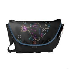 Cute Neon Fish Messenger Bag