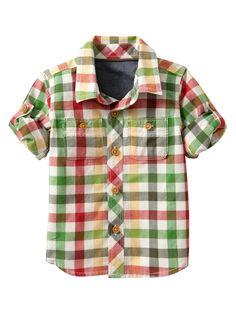 Woven convertible madras shirt - Gap