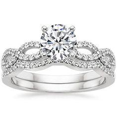 18K White Gold Infinity Diamond Ring Matched Set