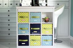 A detail tutorial on how to DIY fabric Storage Box by using carton box & fabric. Brighten up your storage boxes wt colorful fabrics to match your home deco. - Page 2 of 2 Sewing Room Storage, Fabric Storage Boxes, Fabric Boxes, Craft Room Storage, Storage Bins, Fabric Basket, Fabric Drawers, Konmari, Homemade Storage