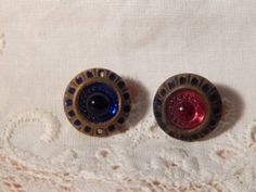 Antique Brass Buttons with Red and Blue Glass Centers and Painted Rims