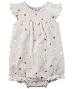 Carter's Baby Girls' Gold Heart Romper - Shop All Baby - Kids & Baby - Macy's Baby Outfits, Outfits Niños, Toddler Outfits, Kids Outfits, Fashion Kids, Little Girl Fashion, My Baby Girl, Baby Love, Baby Girls