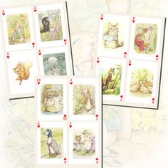Beatrix Potter Characters Playing Card by imagesbythebook on Etsy