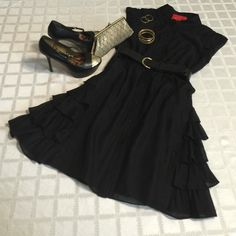 Zac Posen little black dress ❤️ Zac Posen LBD buttons down the front and has high collar to be buttoned completely up or left open.  Cap sleeves, self waist and no belt came w/ dress but belt $9 shown may be purchased in my closet ( Sam Edelman platform shoes sz 8 - SOLD) There is ruffling detail on both sides from the waist down and 2 top front pockets.  Only worn a few times - LIKE NEW!    Z Spoke by Zac Posen Dresses Midi