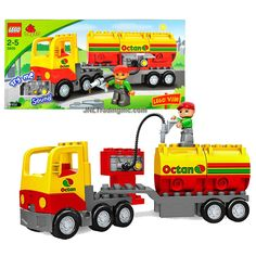 Lego Duplo Lego Ville Series Vehicle Set # 5605 - OCTAN TANKER Truck Set with Sounds and Driver Minifigure (Total Pieces : 17)
