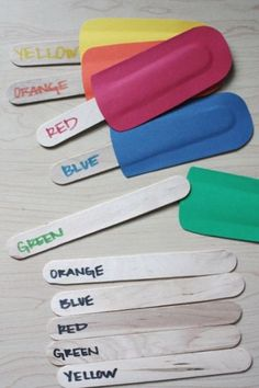 Glue around the edges of a paper or fabric shape to leave a popsicle stick shaped pocket. Match colors, names, letters, shapes... An easy project for themed work, and different sticks can be introduced for increasing difficulty levels (descriptive words, antonyms, etc.)