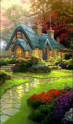 Waou. Maravilloso Beautiful Nature Wallpaper, Beautiful Paintings, Beautiful Landscapes, Beautiful Gardens, Landscape Art, Landscape Paintings, Oil Paintings, Thomas Kinkade Art, Graffiti Kunst