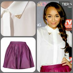 Ashley Madekwe wearing Zara shirt and purple leather skirt