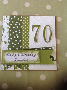 Stampin' Up! - Number of years stamp & die set & English garden DSP. 70th Birthday card