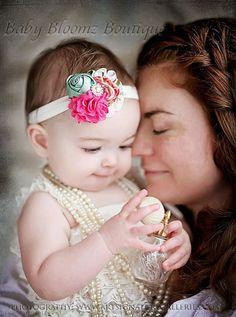 Floral Baby Headband Baby girl headband  Baby bow, hair bow, newborn headband, toddler headband, photo shoot on Etsy, $9.95