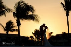 Stunning sunset portrait of bride and groom during a wedding photo session by #DreamArtPhotography at @palaceresorts #DreamArtWedding #WeddingPhotography #Light #Silhouettes #Sunset Special thanks to @prweddings