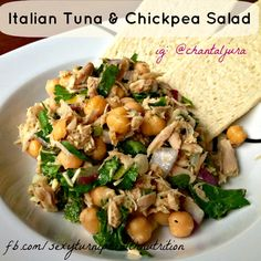 "Tuna + chickpeas + spinach = a protein-filled powerhouse salad! Inspired by Gwyneth Paltrow's book ""It's All Good"" Recipe on www.facebook.com/sexyturniphealthnutrition"