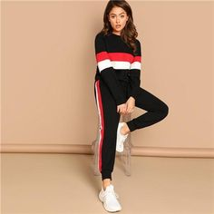 Black Colorblock Sweatshirt & Pants Set Round Neck Tops Active Wear Clothing 2018 Autumn Womens Workout 2 Piece Set Multi S Sporty Outfits, Fashion Outfits, Fashion Clothes, Dress Outfits, Two Piece Outfit, Clothing Co, Sport Wear, Fit Women, Casual