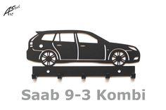 Wieszak na klucze / key rack - Saab 9-3 Combi   Worldwide Shipping  #wieszak #Saab #klucze #design #dekoracja #pomysl #prezent #idea #car #auto #samochod #black #gift #poland #quality #key #gadzet #czarny #wall #hanger #rack Special Keys, Saab 9 3, Key Rack, Hanger, Vogue, Steel, Gifts, Design, Clothes Hanger